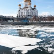 The Cathedral Of Christ The Savior. The ice on the Moskva river — Stock Photo #66147037