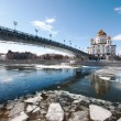 The Cathedral Of Christ The Savior. The Patriarchal bridge. The ice on the Moskva river — Stock Photo #66147055