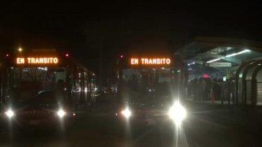 Buses, Mass Transit, Night, Evening — Stock Video