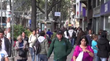 Pedestrians, People Walking and Shopping Local Businesses — Stock Video