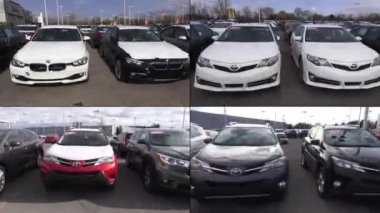 New Cars at Auto Dealership, in Parking Lot — Stock Video
