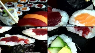 Sushi, Sashimi, Japanese Foods, Cuisine, Gourmet — Stock Video