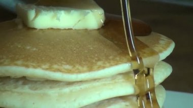 Pancakes, Syrup, Breakfast Foods, Brunch — Stock Video