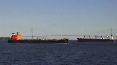 Frachtowce, kontenerowce, statki, łodzie — Wideo stockowe