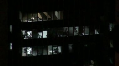 Office Buildings, Sky Scrapers, Night, Urban — Wideo stockowe