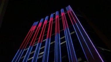 Office Buildings, Sky Scrapers, Night, Urban — Stock Video
