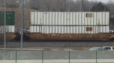 Cargo Trains, Railroads, Shipping, Transport, Box Cars — Stock Video