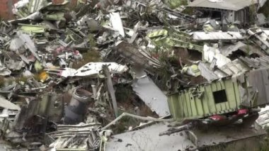 Airplane Wreckage, Accident, Scrap Metal — Stock Video