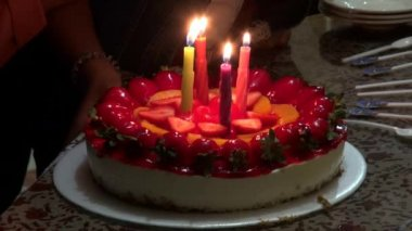 Birthday Cakes, Candles, Celebrations — Stock Video