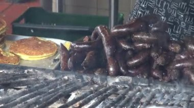 Grilled Sausages, BBQ, Barbeque, Cooking — Stock Video