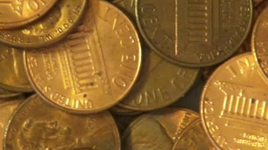 Pennies, Coins, Money, Currency — Stock Video