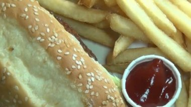 Hamburgers, French Fries, Fast Food — Stock Video