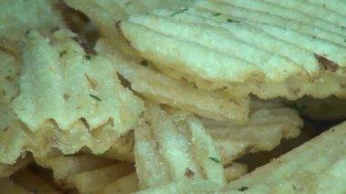 Ridged Potato Chips, Ruffles, Snack Foods — Stock Video