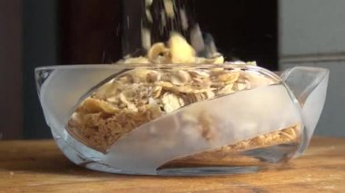 Bowl of Cereal, Milk, Grains, Breakfast Foods — Stock Video