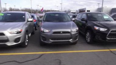 New Cars, Car Dealership, Parking Lot — Stock Video