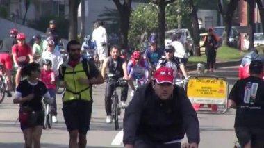 Lidé na koních, jízdní kola, kola, cyklistika, doprava — Stock video