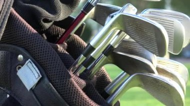 Golf Clubs, Golf Bag — Stock Video