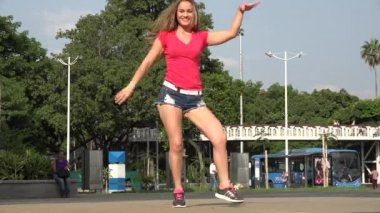 Young Woman Dancing — Stock Video