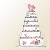 Vector wedding cake design — Stock Vector