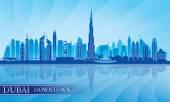 Dubai Downtown City skyline silhouette background — Stock Vector