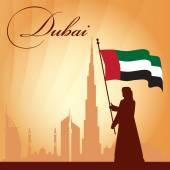 Dubai city skyline silhouette background — Stok Vektör