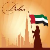 Dubai city skyline silhouette background — Stockvector