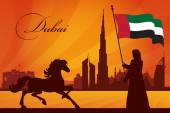 Dubai city skyline silhouette background — Stock Vector