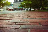 Red brick pavement in Boston — Stock Photo