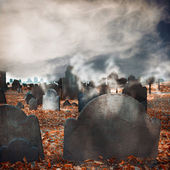 Halloween graveyard background — Stock Photo