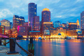 Boston Harbor and Financial District — Stock Photo