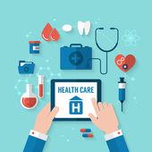 Concept voor gezondheidszorg en medische hulp — Stockvector
