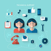 Illustration concept for technical support — Stock Vector