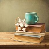 Tea cup on books — Stock Photo