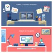 Office desk template with flat icons — Stock Vector #55129379