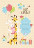 Birhtday card with giraffe and bunny — Stock Vector