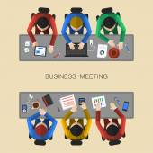 Analyzing project on business meeting — Stock Vector