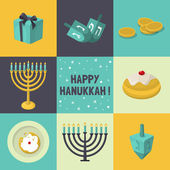Jewish Holiday Hanukkah icons set — Stock Vector