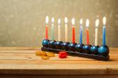 Menorah and dreidel — Stock Photo