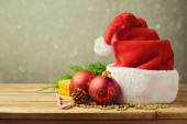 Santa Hat with Christmas decorations — Stock Photo