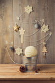 Christmas tree made from yarn — Stok fotoğraf