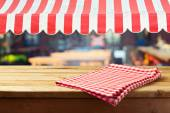 Counter with tablecloth and awing — Foto Stock