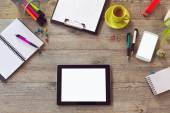 Office desk with tablet smartphone and coffee — Fotografia Stock