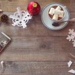 Coffee, smartphone, scissor and decorations — Stock Photo #56504857