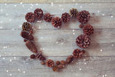 Heart shape from pine cones — Stock Photo
