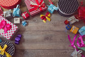 Christmas gift boxes on table — Stock Photo