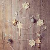 Christmas tree made from yarn — Stock Photo