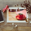 Photo of coffee cup with smart phone — Stock Photo #57400291