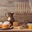 Hanukkah celebration with vintage menorah — Stock Photo #58399383