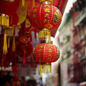 Red chinese lamp in Chinatown — Stock Photo