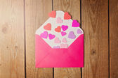 Envelope and heart shapes — Stock Photo